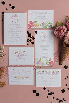 Semi-custom watercolor wedding invitation suite Watercolor Wedding Invitations, Wedding Invitation Suite, Sorbet, Save The Date, Place Card Holders, Wedding Announcements