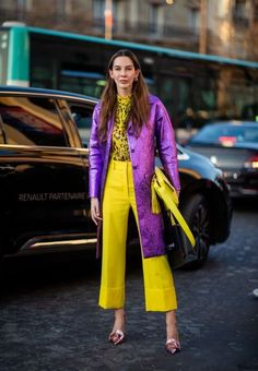 Estelle Pigault is seen wearing yellow cropped flared pants, top with animal print, pink coat outside Rochas during Paris Fashion Week Womenswear Fall/Winter on February 2019 in Paris,. Get premium, high resolution news photos at Getty Images Fashion Week, Look Fashion, Fashion Outfits, Womens Fashion, Fashion Trends, Paris Fashion, Winter Street Fashion, Feminine Fashion, Daily Fashion