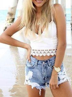 high waist jean shorts with crochet detail