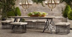 """LOVE the metal milk crate """"stools"""" to this improvised outdoor dining table.  Awesome!  Source: Restoration Hardware"""