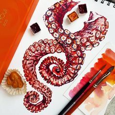 ENG▪RU Today I decided to go a bit crazy! These octopuses tentacles were tough to draw without draft! I even got headache! Sketchbook Inspiration, Art Sketchbook, Octopus Tentacles Drawing, Octopus Photography, Octopus Tattoo Design, Natural Forms, Tattoo Shop, Marine Life, Leg Tattoos