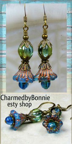 Blue and iridescent green Czech glass earrings. Bohemian Boho chic. Check out my etsy shop for more details and more lovely jewelry, hope to see you there.