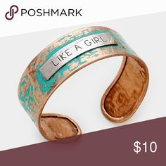 "Like a girl"" hammered metal cuff bracelet Color : Copper, Patina Verdigris Theme : Message  Size : 0.8"" H Cuff Jewelry Bracelets"