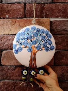 Great Evil Eye Tree Wall Decoration - Beautiful and Different Thoughts and Ideas Foam Crafts, Diy And Crafts, Arts And Crafts, Dot Art Painting, Stone Painting, Tree Of Life Art, Bright Art, Turkish Art, Stone Crafts