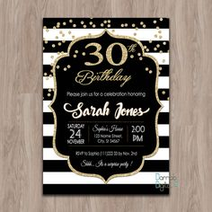 30th Birthday Invitation Invites 40th 50th 60th For Her Female Woman