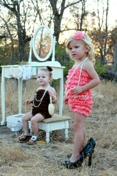 this would be a cute idea for a mommy and me mini shoot. or even a girls dress up mini shoot cute ruffle baby romper