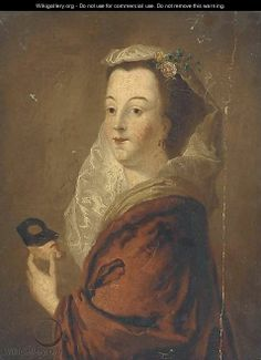 Portrait of a lady, bust-length holding a mask  by Pietro Antonio Rotari