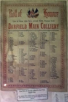 Barnsley War Memorials Project: Darfield Main Colliery WW1 Roll of Honour, Maurice Dobson Museum & Heritage Centre