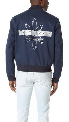 KENZO Cotton Gabardine Bomber with Logo