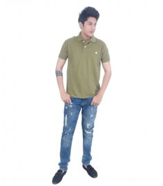 Grey Booze Green Slim Fit Polo T Shirt