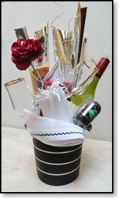 Ice bucket for the couple with champagne and munchies