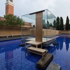 Glass Tea House. Location: Venice, Italy Artist: Hiroshi Sugimoto; client: Sumitomo Forestry Co. Ltd., and Fondazione Bisazza, in collaboration with Asahi Building-Wall Co; Photographs: Hiroshi Sugimoto via designboom; year: 2014