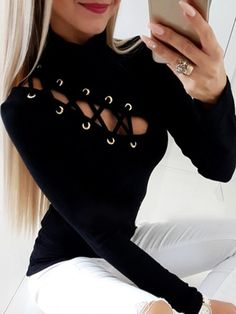 Buy Women Fashion Sexy Women Lace-Up Hollow Out Long Sleeves Slim Blouse Blusas Mujer at Wish - Shopping Made Fun Mode Outfits, Fashion Outfits, Fashion Boots, Pattern Fashion, Shirt Blouses, Casual Shirts, Ideias Fashion, Sexy Women, Bodycon Dress