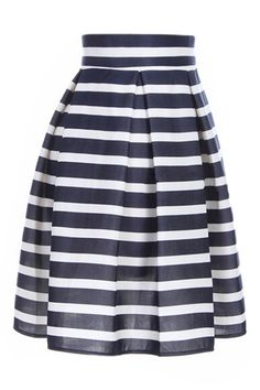 ROMWE Stripe Print High-waist Pleated Flared Navy-blue Skirt