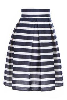 ROMWE Stripe Print High-waist Pleated Flared Navy-blue Skirt