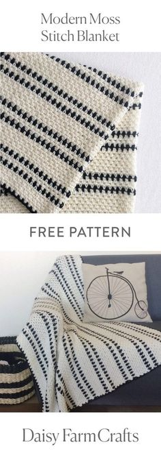 FREE PATTERN Modern Moss Stitch Blanket by Daisy Farm Crafts. A simple but very pretty design. #commissionlink