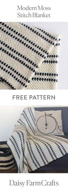 FREE PATTERN Modern Moss Stitch Blanket by Daisy Farm Crafts