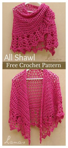 Crochet shawls are perfect for any season. Shawls are fun to crochet. There are many different ways to crochet a shawl. This Pineapple Stitch All Shawl Free Crochet Pattern will help you explore a new way to get warm with wraps. Poncho Crochet, Beau Crochet, Pull Crochet, Crochet Shawls And Wraps, Crochet Scarves, Crochet Clothes, Crochet Hats, Crochet Top, Crochet Sweaters