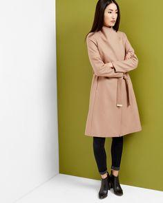 Long wrap coat - Camel | Jackets & Coats | Ted Baker ROW