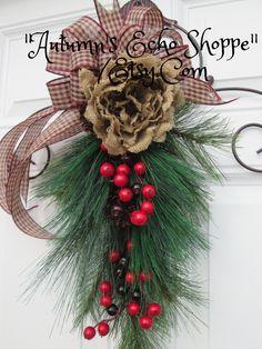 CHRISTMAS DOOR SWAG  , Door Wreath Alternative , Country Inspired Door Swag , Faux Pine Door Swag  , Christmas Wreath , Holiday Door Decor by AutumnsEchoShoppe on Etsy