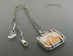 Silver Necklace Crazy Lace Agate Necklace Sterling by LjBjewelry