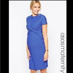 Nwt Asos Maternity Blue Textured Cross Front Dress