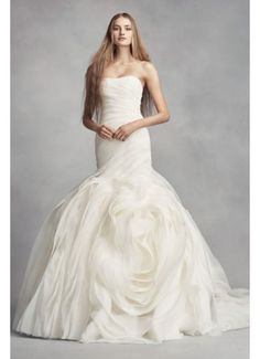White by Vera Wang Bias-Tier Trumpet Wedding Dress VW351395