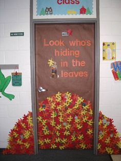 Fall- leaves with kids pics hiding in the pile.  This is tooo cute! Classroom Bulletin Boards, Classroom Themes, Preschool Classroom, Fall Preschool, Infant Classroom Ideas, Halloween Bulletin Boards, Preschool Boards, Toddler Classroom, Fall Door Decorations