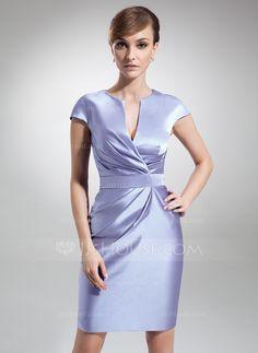 Sheath/Column V-neck Knee-Length Satin Mother of the Bride Dress With Ruffle (008006208) - JJsHouse