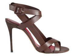 Brown Leather Strappy Sandal - Ch Carolina Herrera Spring 2015