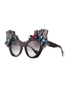 Shop Glitter Butterfly Sunglasses from Anna-Karin Karlsson at Neiman Marcus Last Call, where you'll save as much as on designer fashions. Anna, Cool Sunglasses, Optician, Eye Shapes, 80s Fashion, High Fashion, Neiman Marcus, Sculpting, Lenses