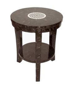 Cattle horn is carefully placed over a wood frame by hand to make this exotic end table.The top is inlayed with horn and camel bone chips alternating, making a contrasting, customizable pattern. Living Room Designs, Living Room Decor, Small End Tables, Side Tables, Horns, Art Deco, Camel, Exotic, Contrast
