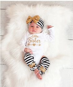 New Baby Girls Clothes Little Sister Long Sleeve Bodysuit Romper Striped Leg Warmer Bow Hairband Kids Clothing 6 Month Baby Picture Ideas, Baby Leg Warmers, Girls Coming Home Outfit, New Baby Girls, Toddler Girls, Baby Boys, Little Girl Outfits, Baby Girl Headbands, Newborn Headbands