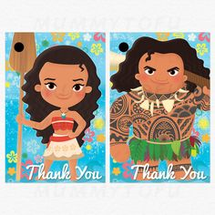 Moana Birthday Thank You Favor Tags Moana Maui Pua by mummytofu