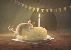 Glückwunschpostkarte Geburtstag von Zur kleinen Maus - Postkarten und Kunstdrucke auf DaWanda.com
