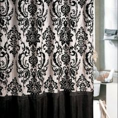 Floral Motif Black And White Shower Curtain Damask & Hygienic Plunger and Toilet Brush & Glass Shelf for Hand Towels on the Porcelain Wall