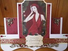 Festive Deco Ladies kit by Kanban Crafts.  Fancy folds card.