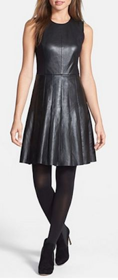 Leather and ponte pleat dress http://rstyle.me/n/mxwjhnyg6