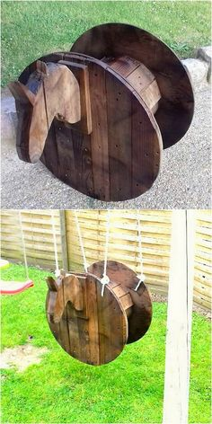 Perfect Pallet Ideas and Projects That Are Easy to Make and Sell: It would not be wrong to say that there is no such wood pallet idea which you would probably dislike or do not. Recycled Pallets, Wooden Pallets, Pallet Projects, Diy Pallet, Pallet Ideas, Pallet Wood, Diy Wood, Diy Projects, Horse Swing