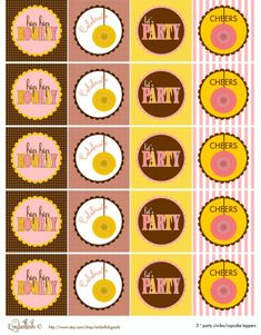 "free birthday printables in yellow, pink and brown (invite, circles, tented cards, party tags, cupcake wrappers, favor tags, flags, water bottle labels, ""let's party"" banner and ""party this way"" sign)    )"