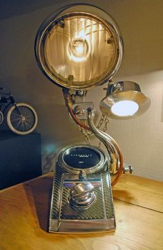 Old School Headlight Lamp made from Harley by ChromeSculptures