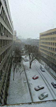 snowing, Lomonosova ulica Sidewalk, Louvre, Building, Illustration, Travel, Design, Buildings, Illustrations, Viajes