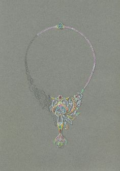 Tony FURION joaillerie gouaché jewellery rendering jewels gouache , collier sirène licorne et dauphin, necklance mermaid, unicorn and dolphin