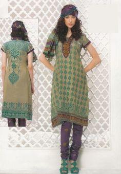Gorgeous Beige Color Dress Material Printed Lawn Cotton Unstitched Salwar Kameez Suit D.no 4010