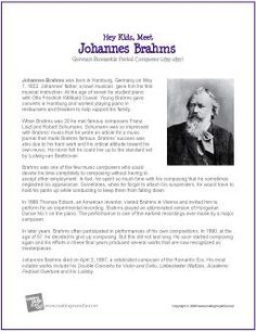 Johannes brahms composer coloring page httpmakingmusicfun johannes brahms printable biography cycle 2 week 21 fandeluxe
