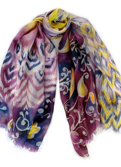 Items similar to MEGA SALE. Ikat and Flowers Garden. Yellow flowers and  paisley. Free delivery on Etsy bf8d4b1c0fb