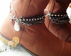 Druzy & Pearls Western Boot Bling, Country Boot Bracelet, Druzy and Pearl Boot Jewelry, Wedding Boot Jewelry-