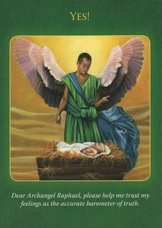 Archangel Raphael wishes to validate your intuitive feelings. This card is a talisman to help you deal with current situations. (click image to keep reading) Doreen Virtue, Archangel Prayers, Angel Guidance, Spiritual Guidance, Archangel Raphael, Oracle Tarot, Black Angels, Angels Among Us, Angel Cards