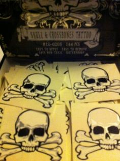 5 x Tempory Skull and Crossbone Pirate Tattoos,