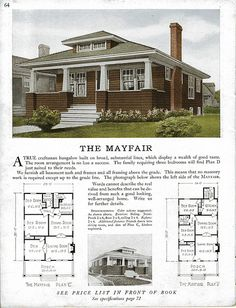 architecture - Sterling Kit House - The Mayfair Bungalow Homes, Craftsman Style Homes, Craftsman Bungalows, Craftsman House Plans, Small House Plans, House Floor Plans, Vintage House Plans, Vintage Homes, Cottages And Bungalows